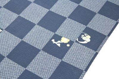 画像1: ■市松模様 紺鼠色系 オシャレ 夏物 絽 反物 正絹 小紋■