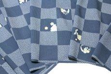 画像3: ■市松模様 紺鼠色系 オシャレ 夏物 絽 反物 正絹 小紋■ (3)