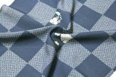 画像4: ■市松模様 紺鼠色系 オシャレ 夏物 絽 反物 正絹 小紋■ (4)