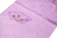 画像2: ■【訳あり】「正絹 夏物 絽」 扇面に花模様 地紋 帯揚げ 平組 帯締め セット■ (2)