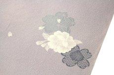 画像3: ■【訳あり】「高級ちりめん使用」 単衣にもおすすめ 暁鼠色系 桜柄 反物 正絹 小紋■ (3)