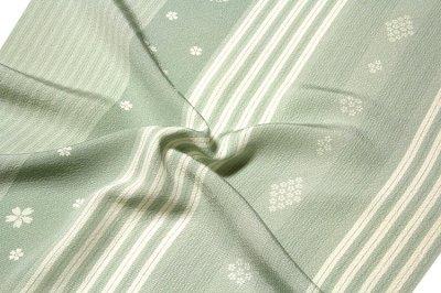 画像3: ■「高級ちりめん使用」 単衣にもおすすめ 粋な縞柄 桜模様 反物 正絹 小紋■