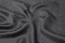 画像4: ■「京友禅-伝統工芸伊勢型写」 単衣にもおすすめ 四季の花 菱文様 黒色 反物 正絹 小紋■ (4)