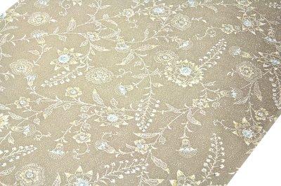 画像2: ■「日本の絹 丹後ちりめん生地使用」 唐花模様 砂色系 反物 正絹 小紋■
