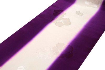 画像1: ■【訳あり】「振袖用」 振りボカシ 袖ボカシ 梅柄 紫紺色 ボカシ染め 反物 正絹 長襦袢■