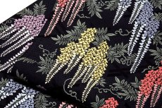 画像4: ■「京都西陣織:タケジ織物謹製」 色鮮やかで見事な 藤花文様 黒色 正絹 高級 袋帯■ (4)