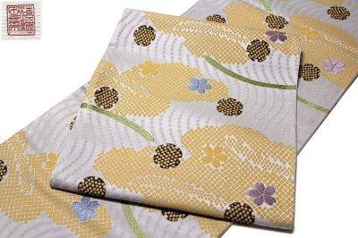 画像2: ■「京都西陣織:京洛苑たはら謹製」 桜に雪輪柄 絞り柄 振袖 訪問着におすすめ 正絹 袋帯■