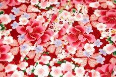 画像6: ■美しい桜柄 赤色系 花模様 煌びやかな金彩加工 地模様 女児七才〜十才 四ッ身 七五三 着物■ (6)