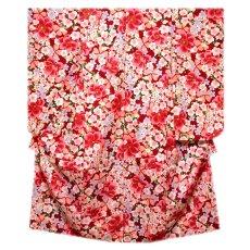 画像1: ■美しい桜柄 赤色系 花模様 煌びやかな金彩加工 地模様 女児七才〜十才 四ッ身 七五三 着物■ (1)