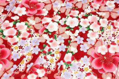 画像3: ■美しい桜柄 赤色系 花模様 煌びやかな金彩加工 地模様 女児七才〜十才 四ッ身 七五三 着物■