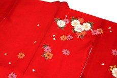 画像7: ■可愛らしい赤色系 花模様 絵羽柄 煌びやかな金彩加工 地模様入り 女児七才 四ッ身 七五三 着物■ (7)