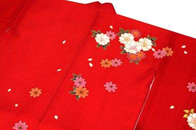 画像3: ■可愛らしい赤色系 花模様 絵羽柄 煌びやかな金彩加工 地模様入り 女児七才 四ッ身 七五三 着物■