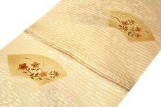 画像2: ■「正絹 夏物 絽」 細やかな地模様入り 扇面に花柄 帯揚げ 平組 帯締め セット■ (2)