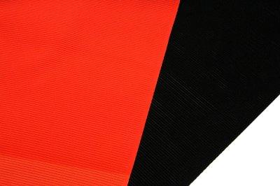 画像1: ■「伝承 紅三段黒」 五泉 日本の絹使用 浜ちりめん生地 石持ち 黒色 夏物 駒絽 反物 正絹 最高級 喪服■