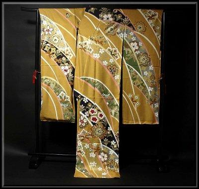 画像1: ■桜に金彩加工 金駒刺繍 豪華 本加工 手描き 振袖■