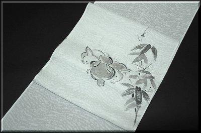 画像1: ■墨絵風 手描き 夏物 九寸 紗 太鼓柄 名古屋帯■