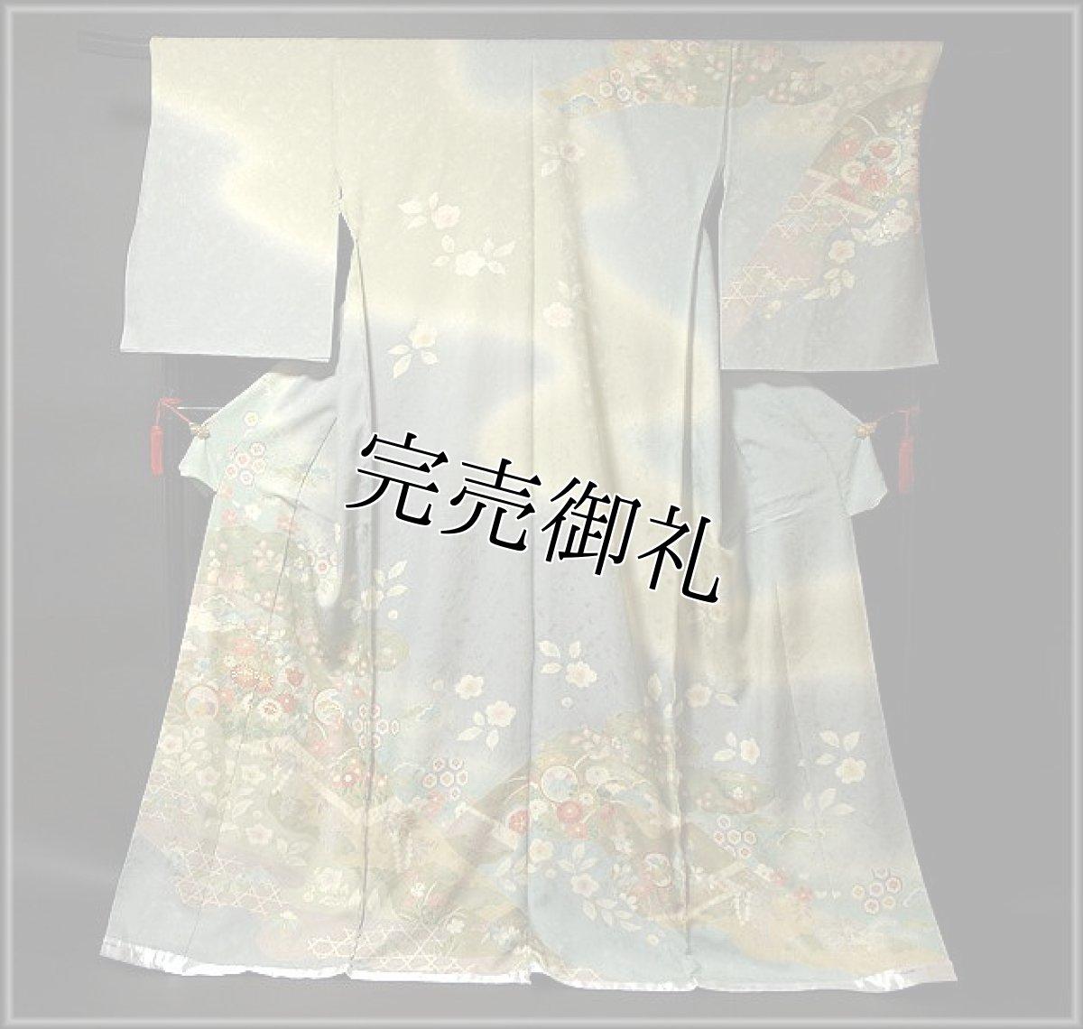 画像1: ■金彩に金駒刺繍 丹後ちりめん 超豪華 染め分け 訪問着■ (1)