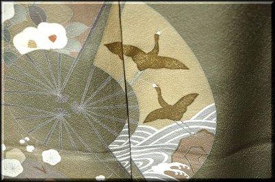 画像3: ■手縫いお仕立て付き! 手描き 金彩飛び鶴 上品な 色留袖■