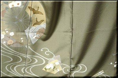 画像2: ■手縫いお仕立て付き! 手描き 金彩飛び鶴 上品な 色留袖■