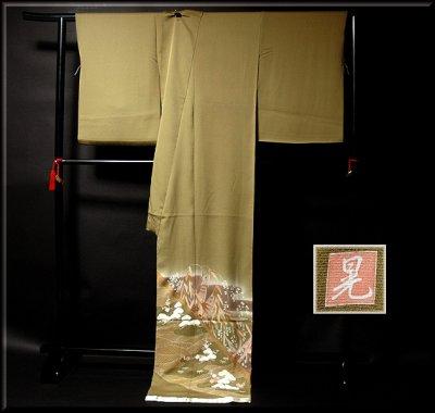 画像1: ■手縫いお仕立て付き! 螺鈿作家 「亀谷清華」作 創作 煌彩 落款 色留袖■