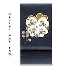[和楽屋] ◆「仕立て上がり-正絹」 太鼓柄 柿渋染 手織紬 袋帯◆