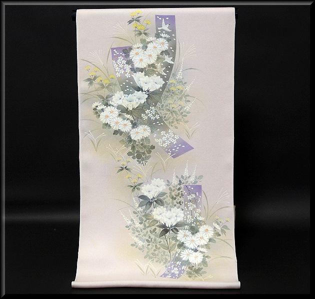 画像1: (訳ありアウトレット品)■フルオーダー手縫い仕立て付き 手描き 銀彩金彩加工 付下げ■ (1)