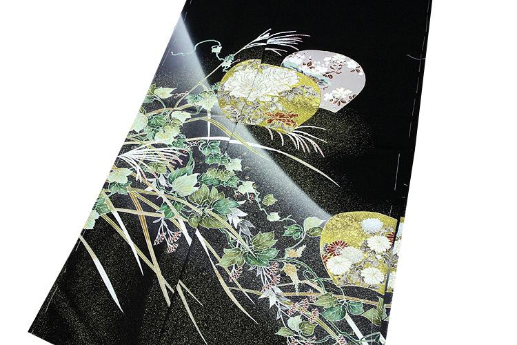 画像1: ■手縫いお仕立て付き 縫い取り 金駒刺繍 金彩加工 黒留袖■ (1)