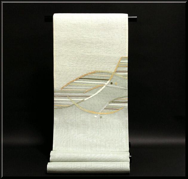画像1: ■モダンでお洒落な 素朴な風合い 太鼓柄 正絹 夏物 紗 袋帯■ (1)