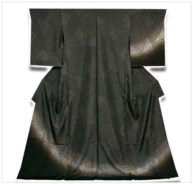 画像1: ■「手紡ぎ糸使用」 暈し シックでモダンな 紬 訪問着■ (1)