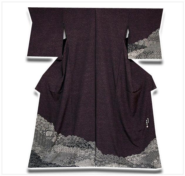 画像1: ■名古屋友禅 伝統工芸士 「赤塚順一」作 伊勢型 シックな 正絹 訪問着■ (1)