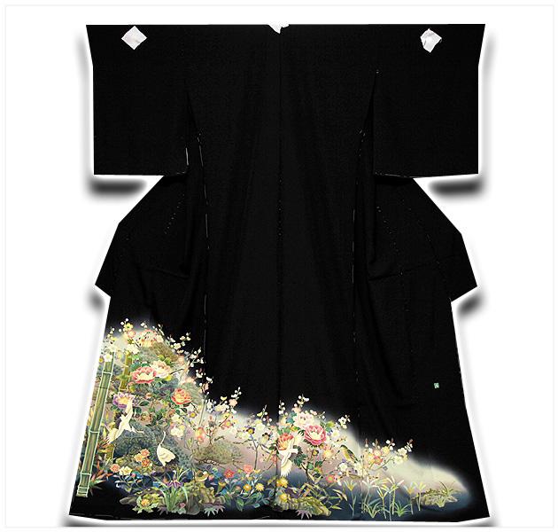 画像1: ■手縫い仕立て付き 「最高級浜ちりめん-四季の花」 松竹梅 作家物 落款入り 黒留袖■ (1)