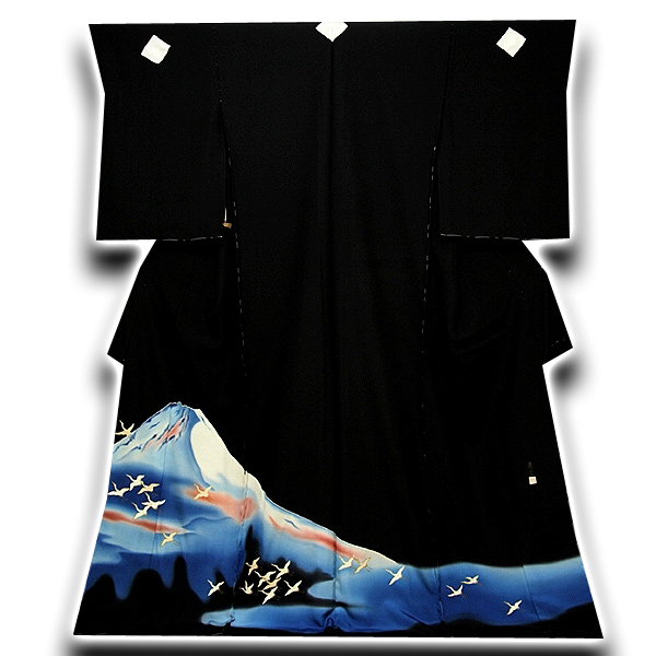 [和楽屋] ◆「皇室献上作家-熊谷慶雲」 大観霊峰飛鶴 浜ちりめん 最高級 黒留袖◆