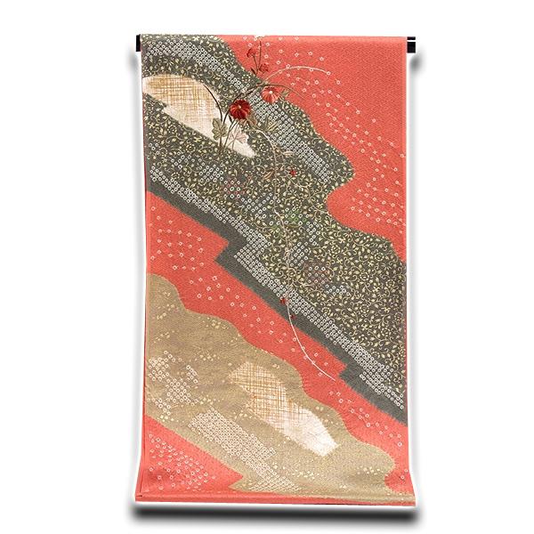画像1: (訳ありアウトレット品)■「贅沢な刺繍-絞り入り」 地紋 金彩加工 正絹 付下げ■ (1)