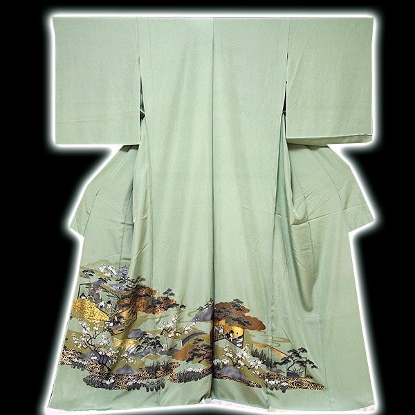 画像1: ■手縫いお仕立て付き 豪華な金彩加工 時代絵巻柄 白緑色 色留袖■ (1)