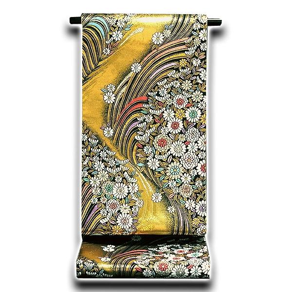 画像1: ■「仕立て上がり」 花模様 振袖に最適 正絹 袋帯■ (1)