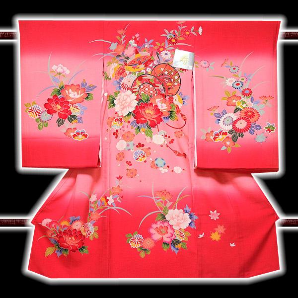 画像1: ■【最高級】 花模様 ボカシ 鼓 女児 七五三 お宮参り 正絹 祝着物■ (1)
