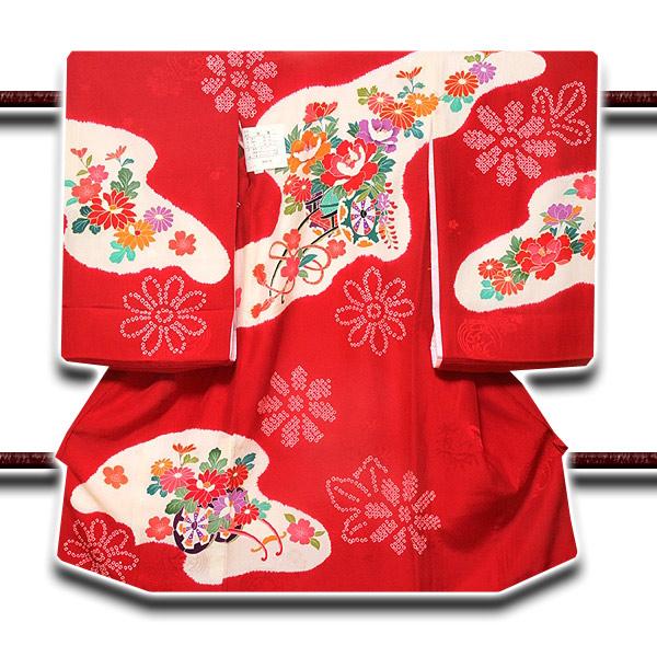 画像1: ■【最高級】「染め分け-絞り染め」 花柄 女児 七五三 お宮参り 正絹 祝着物■ (1)