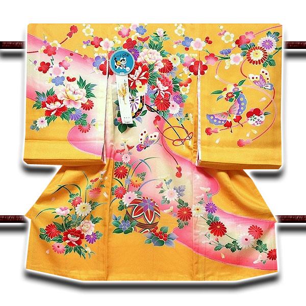 画像1: ■「染め分けボカシ」 花車 女児 七五三 お宮参り 正絹 祝着物■ (1)