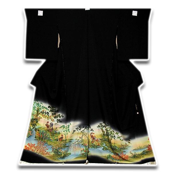 画像1: ■手縫い仕立て付き 「在外秘宝-落款入り」 浜ちりめん 黒留袖■ (1)