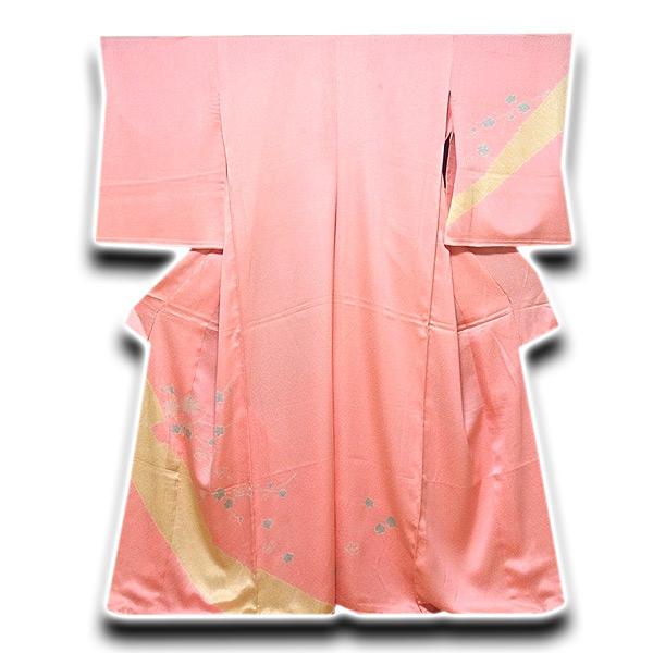 画像1: (訳ありアウトレット品)■染め分け 絞り入り 華やかな 利休織 一越綸子生地 訪問着■ (1)