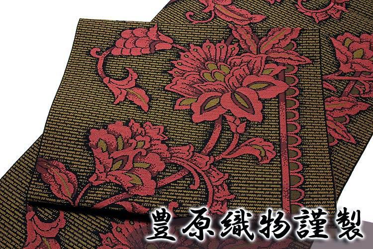 画像1: ■「豊原織物謹製-緑印」 はかたの華 正絹 本場筑前博多織 8寸 名古屋帯■ (1)