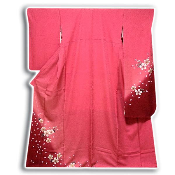 画像1: (訳ありアウトレット品)■「仕立て上がり-正絹」 華やか 桜尽くし ボカシ 振袖■ (1)