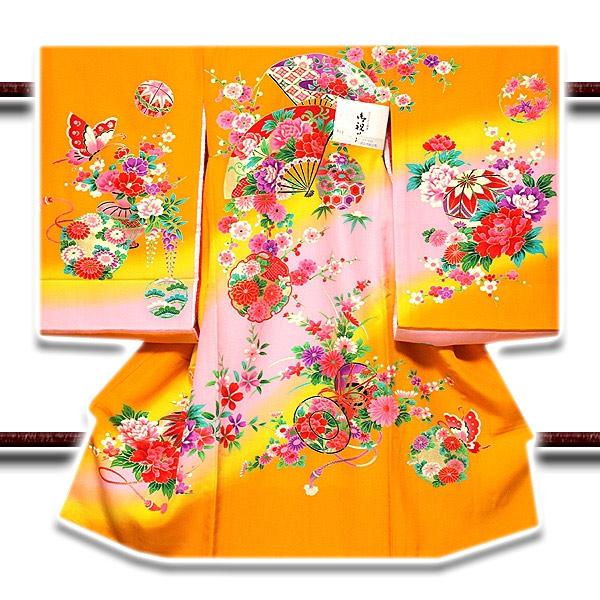 画像1: ■「染め分けボカシ」 扇面に花柄 女児 七五三 お宮参り 正絹 祝着物■ (1)