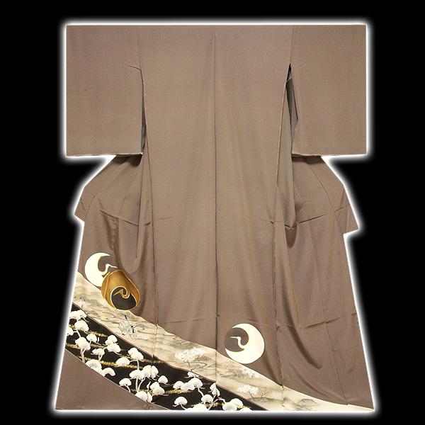 画像1: (訳ありアウトレット品)■手縫いお仕立て付き 「丹頂鶴に金駒刺繍 金彩加工」 丹後ちりめん 正絹 色留袖■ (1)