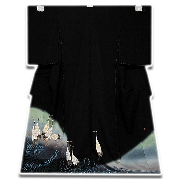 画像1: (訳ありアウトレット品)■「伊と幸」 落款入り 縫い取り 手描き 丹頂鶴 黒留袖■ (1)