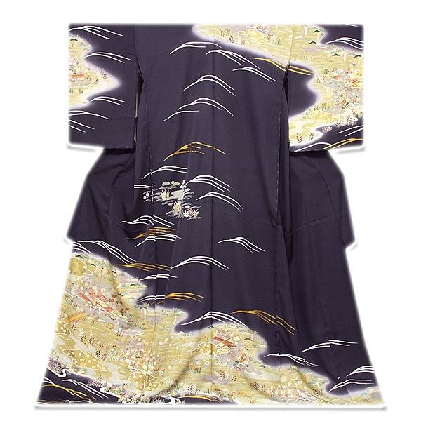 画像1: ■「本染め」 日本の絹 丹後ちりめん 風景図 金駒刺繍 金彩加工 ボカシ 最高級 正絹 訪問着■ (1)
