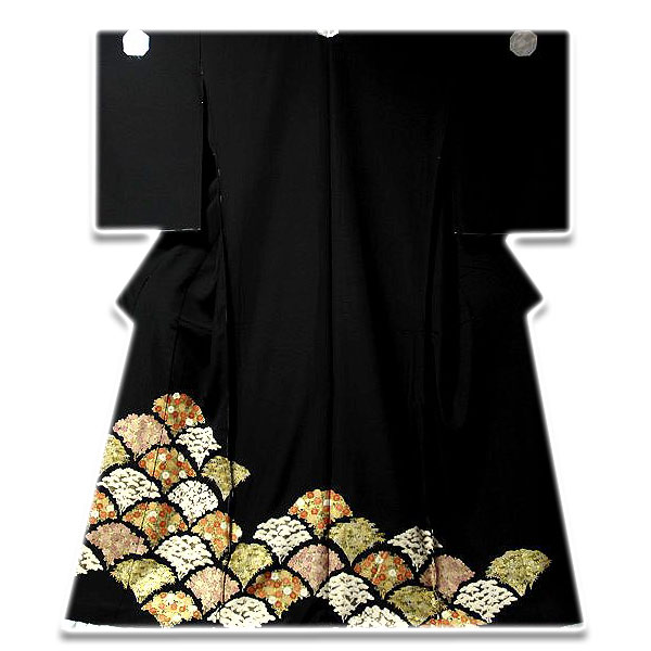 [和楽屋] ◆手縫いお仕立て付き! 吉祥文様 松竹梅 扇面花 正絹 黒留袖◆