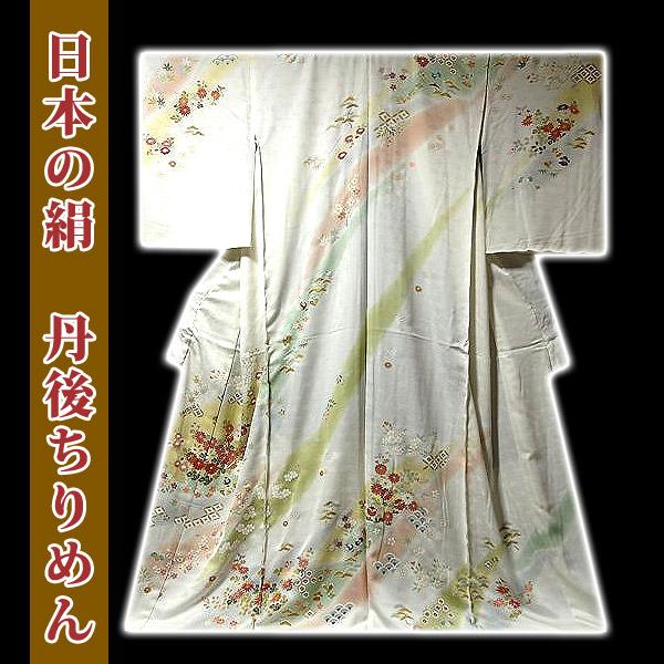 画像1: ■白地 華やかなボカシ 手描き 日本の絹 丹後ちりめん 訪問着■ (1)