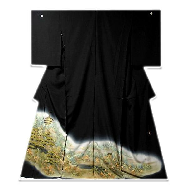 画像1: ■手縫いお仕立て付き! 洛中洛外図 「正和」作 黒留袖■ (1)