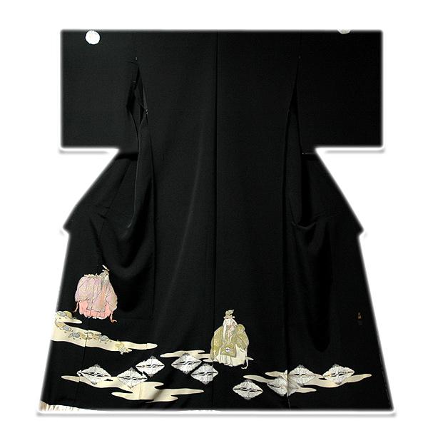 画像1: ■手縫いお仕立て付き! 極上の手触り 光琳本金箔 落款 黒留袖■ (1)